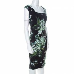 Dolce & Gabanna Black Floral Print Moss Crepe Cap Sleeve Sheath Dress S Dolce&Gabbana