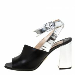 Prada Black/Silver Leather Ankle Strap Square Toe Ankle Strap Sandals Size 38 225114