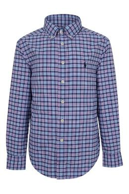 Синяя рубашка в клетку Ralph Lauren Kids 1252151633