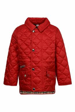Красная стеганая куртка Burberry Kids 1253151710