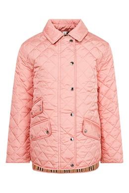Стеганая куртка персиково-розового оттенка Burberry Kids 1253151718