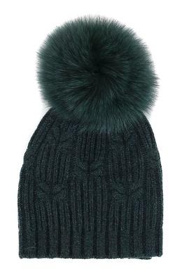 Зеленая шапка с меховым помпоном Fedeli 680152227