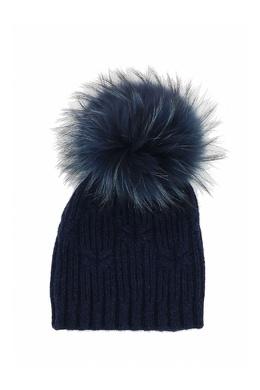Темно-синяя шапка с меховым помпоном Fedeli 680152230