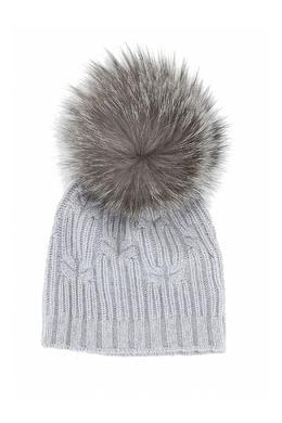 Серая шапка с меховым помпоном Fedeli 680152229