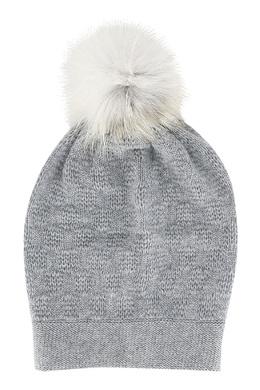 Серая шапка с помпоном Fedeli 680152122