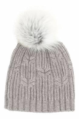 Бежево-серая шапка с меховым помпоном Fedeli 680152228
