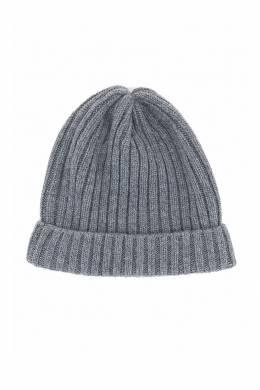 Серая шапка-бини с отворотом Fedeli 680152285