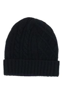 Черная шапка-бини фигурной вязки Fedeli 680152298