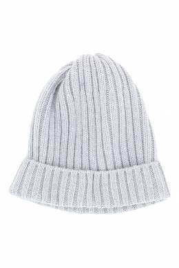 Светло-серая шапка-бини с отворотом Fedeli 680152283