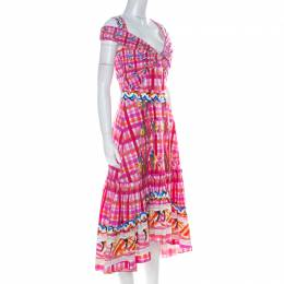 Peter Pilotto Pink Printed Cotton Poplin Cold Shoulder Ruffled Hem Dress S 225128