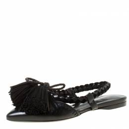 Carven Black Leather Tassle Detail Pointed Toe Flat Mules Size 37