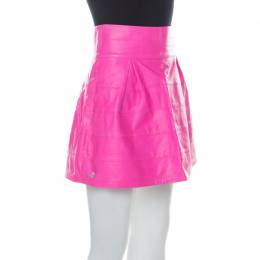 Philipp Plein Neon Pink Lamb Skin Mini Skirt M