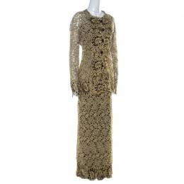 Valentino Gold & Black Guipure Lace Skirt & Jacket Set L
