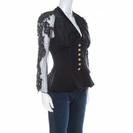 Christian Lacroix Black Wool Gathered Bodice Beaded Sheer Sleeve Peplum Jacket L