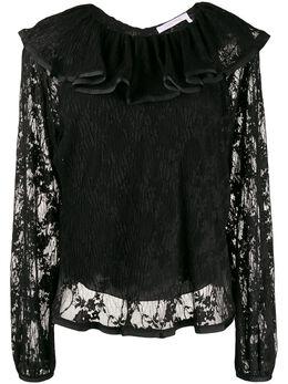 See By Chloe блузка с оборками на воротнике CHS19WHT10024001