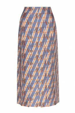 Шелковая юбка с принтом Gucci 470151690