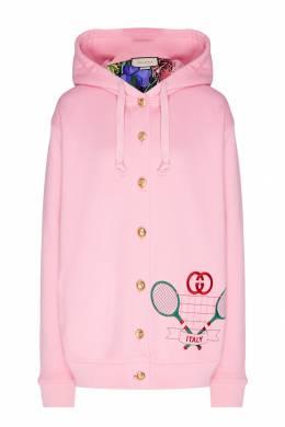 Розовый хлопковый кардиган с вышивкой Gucci 470151732