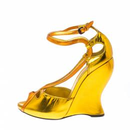 Bottega Veneta Gold Leather Cut-Out Ankle Strap Wedge Sandals Size 38.5 224012