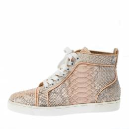 Christian Louboutin Pink Python Leather Louis Orlato Lace Up Sneakers Size 38.5 226650