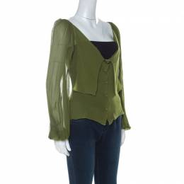 Alberta Ferretti Olive Green Silk Pleated Sleeve Detail Button Front Blouse M 226274