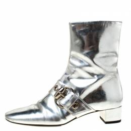 Gucci Metallic Silver Leather Buckle Detail Ankle Boots Size 37 225799