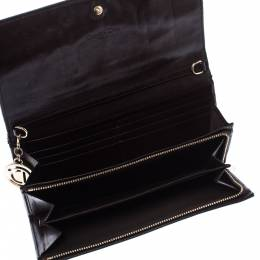 Dior Dark Brown Cannage Leather Lady Dior Flap Wallet