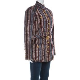 Christian Lacroix Vintage Multicolor Striped Velvet Belted Tailored Jacket XL