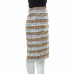 Max Mara Gold and Silver Metallic Fringed Crepe Gavetta Skirt S