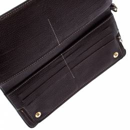 Carolina Herrera Dark Brown Leather Bifold Long Wallet