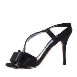 Fendi Black Satin Embellished Bow Slingback Sandals Size 38.5 226641