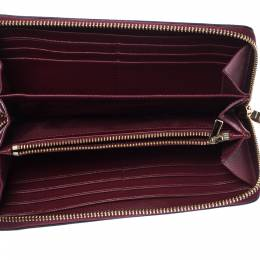 Coach Burgundy Leather Accordion Zip Wallet