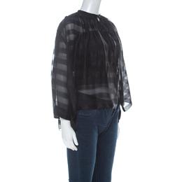 Balenciaga Black Striped Chiffon High-Low Three Quarter Sleeve Blouse S 224892