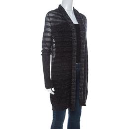 Zadig & Voltaire Black & Silver Lurex Knit Dana Pointelle CRL Cardigan XS