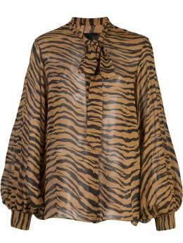 Nili Lotan блузка с принтом и бантом 10541W137