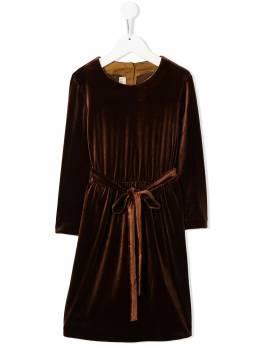 Caffe' D'orzo велюровое платье Mia с поясом на завязке MIA