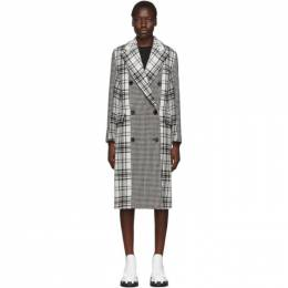 MSGM Black and White Plaid Double-Breasted Coat MDC11A 195609