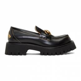 Gucci Black Leather Lug Sole Loafers 577236 DS800