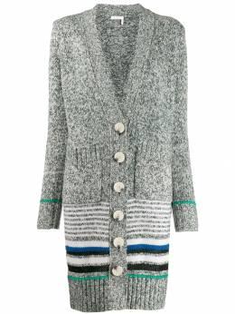 See By Chloe длинный кардиган-пальто в полоску CHS19WMC03570