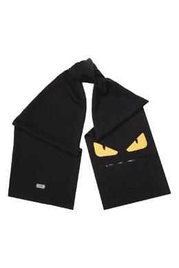Черный шарф с фирменной аппликацией Fendi 1632152899