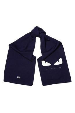 Синий шарф с фирменной аппликацией Fendi 1632152900