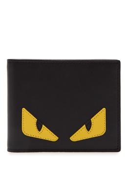 Черное складное портмоне с аппликацией Fendi 1632152908