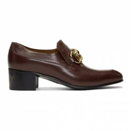 Gucci Burgundy Leather Horsebit Chain Loafers 585860 D3V00