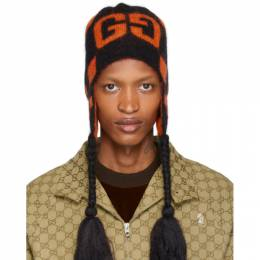 Gucci Black and Orange Mohair Ski Beanie 587761 4G092