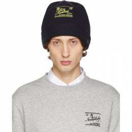 Raf Simons Navy Wool and Cashmere Heroes Beanie 192-849