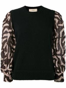 Maison Flaneur contrasting sleeve jumper 19WMDTH150FY052