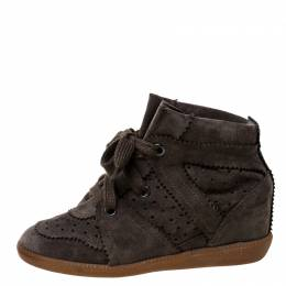Isabel Marant Brown Suede Leather Bobby Wedge Sneakers Size 36 227006