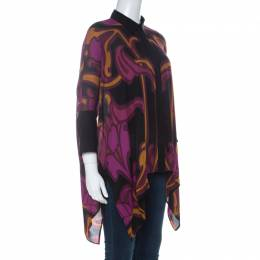 Gucci Purple Art Nouveau Print Silk Cape Shirt S