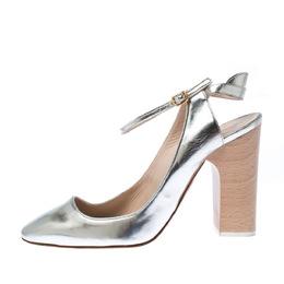 Chloe Metallic Silver Leather Ankle Strap Block Heel Sandals Sizer 38 226823