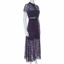 Self-Portrait Purple Guipure-Lace Short Sleeve Midi Dress M