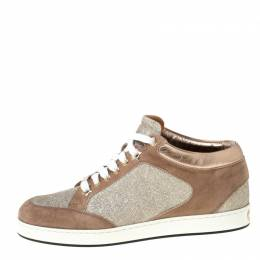 Jimmy Choo Beige Glitter And Suede Miami Lace Up Sneakers Size 35 225978